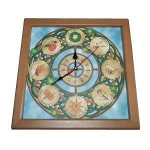 часы из дерева колесо года